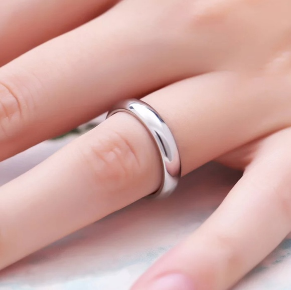 titanium steel hypoallergenic Wedding band ring Other - Titanium Steel Silver & Rose Gold 4mm/1.5mm Band